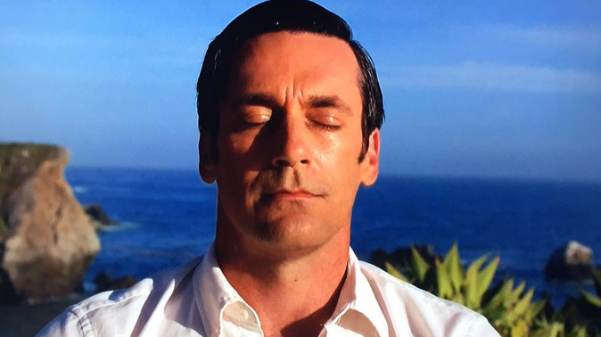 "Don Draper in the series finale of ""Mad Men."""
